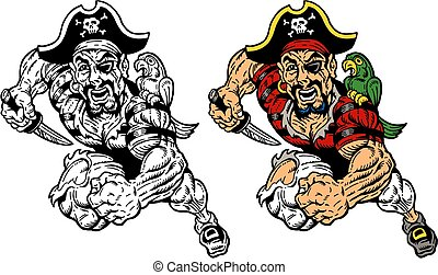 running pirate - running muscular pirate with knife