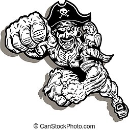 pirates mascot - running pirates mascot with large fist...
