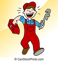 Running Plumber With Wrench and Toolbox - An image of a...