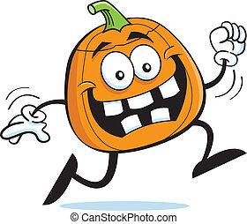 Cartoon illustration of a happy running pumpkin