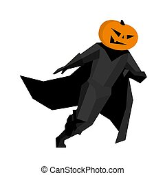 Running pumpkin man isolated on white background