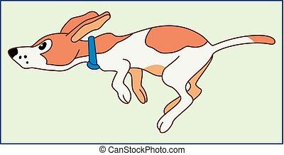 Running puppy. Illustration of the cute fun puppy running.
