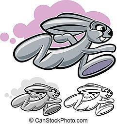 Running rabbit - running rabbit cartoon character isolated...