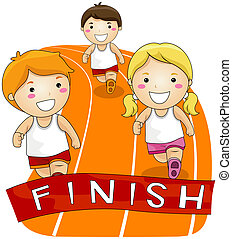 Children Running in a Race with Clipping Path