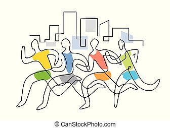 Running race marathon, line art stylized.