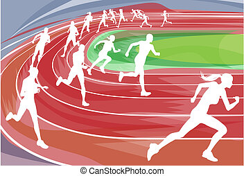 Illustration background of runners sprinting in a race around the track