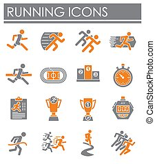 Running related icons set on background for graphic and web design. Creative illustration concept symbol for web or mobile app.