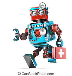 Running Robot Doctor with stethoscope. Isolated. Contains clipping path