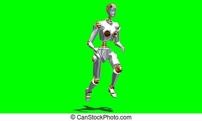 Running robot on green