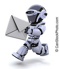 running robot with envelope - 3D render of robot running...