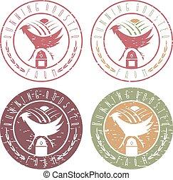 running rooster farm vintage grunge labels set vector