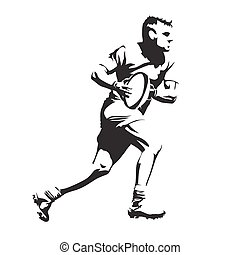 Running rugby player, abtract black vector silhouette
