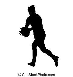 Running rugby player holding ball, vector silhouette