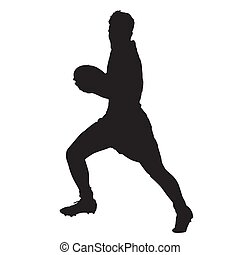 Running rugby player with ball, vector silhouette