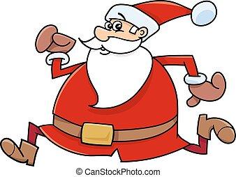 running santa claus cartoon