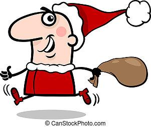 running santa claus cartoon illustration