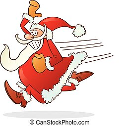 running santa claus - Illustration of santa claus running