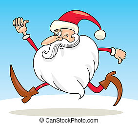 Running Santa claus - llustration of running Santa claus