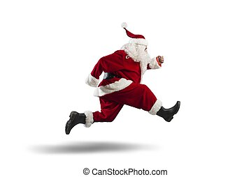 Running Santa Claus isolated on white background