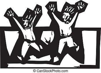 Running Scared - two people in expressionistic woodcut style...