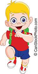 Running schoolboy - Cute boy running to school