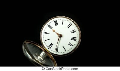 Running second hand on an old pocket watch with a white...