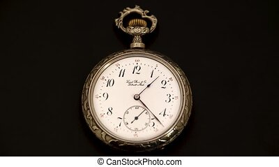 Running second hand on an old vintage pocket watch . Black...