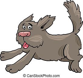 running shaggy dog cartoon illustration