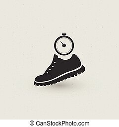 Running Shoe and stopwatch