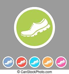 Running shoe, sneaker, trainer flat icon set
