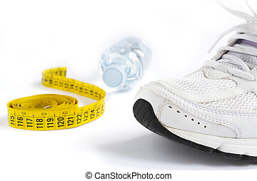 running shoe and meter on white background