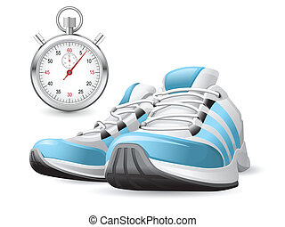Running Shoes and stopwatch - Piar of running shoes and...