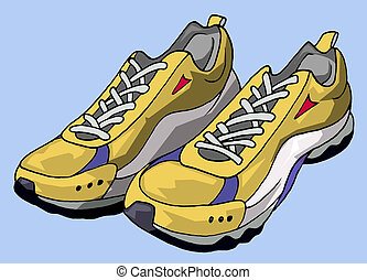 Running shoes - Illustration of a pair of yellow running...