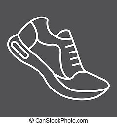 Running shoes line icon, fitness and sport, gym sign vector graphics, a linear pattern on a black background, eps 10.
