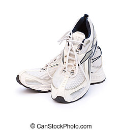 Running shoes - Mens running shoes against a white ...
