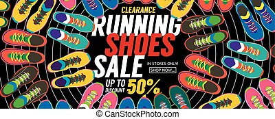 Running Shoes Sale Banner Vector - Running Shoes Sale...