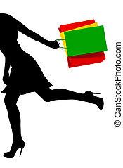 Running shopping girl - Abstract illustration: running ...