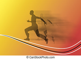 Running - Silhouette of a running man over yellow and orange...