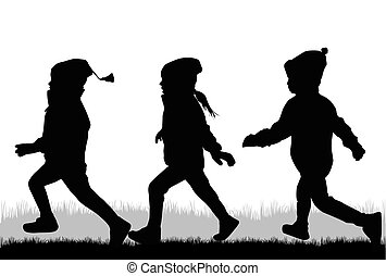 running., silhouettes, enfants