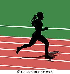 Running silhouettes in sport stadium. Vector illustration.