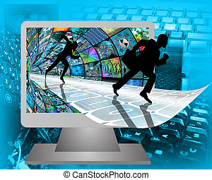 running silhouettes - Many abstract images on the theme of...