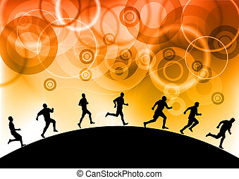 running - silhouettes of athletes on the background