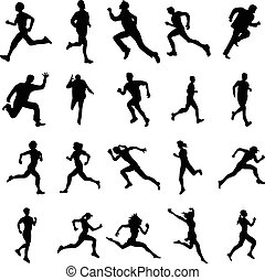 Running silhouettes set