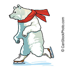 Running Skating Polar Bear