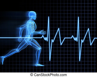 3d rendered illustration of a running man with heartbeat