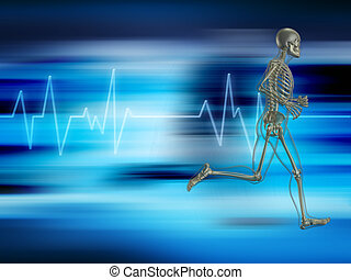 Running skeleton on a background showing heart rate