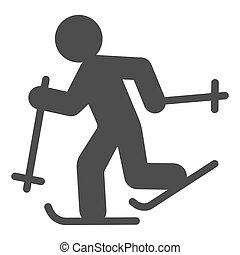 Running skier solid icon, Winter season concept, Cross-country skiing sign on white background, skier silhouette icon in glyph style for mobile concept and web design. Vector graphics.