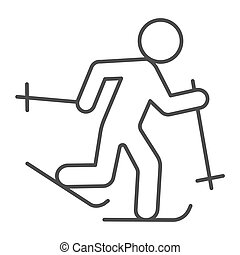 Running skier thin line icon, Winter season concept, Cross-country skiing sign on white background, skier silhouette icon in outline style for mobile concept and web design. Vector graphics.