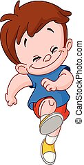 running skipping kid