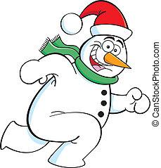 running snowman - Cartoon illustration of a snowman running.